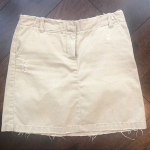 J.Crew distressed khaki skirt